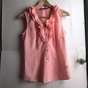 THE LIMITED Light Baby Pink Ruffle Button Down Top